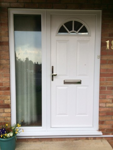 Replacement windows and doors for White front door with glass