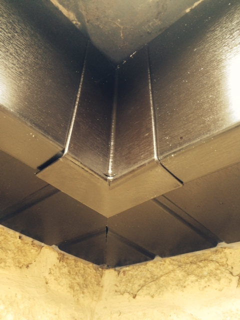 Corner detailing on new black fascia