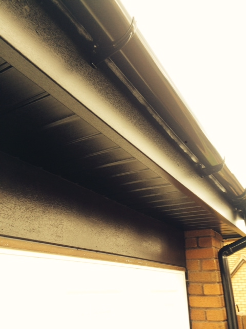 Black replacement soffits, fascia and gutters