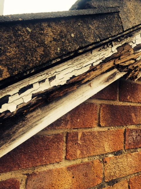 Dry verge: rotten wood before replacement