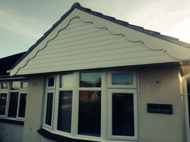 The finished replacement cladding and decorative fascia boards